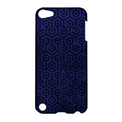 Hexagon1 Black Marble & Blue Leather (r) Apple Ipod Touch 5 Hardshell Case by trendistuff