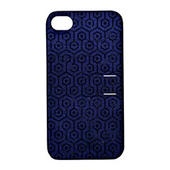 Hexagon1 Black Marble & Blue Leather (r) Apple Iphone 4/4s Hardshell Case With Stand by trendistuff