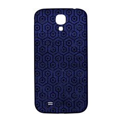 Hexagon1 Black Marble & Blue Leather (r) Samsung Galaxy S4 I9500/i9505  Hardshell Back Case by trendistuff