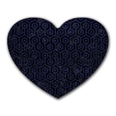 Hexagon1 Black Marble & Blue Leather Heart Mousepad by trendistuff