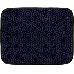 Hexagon1 Black Marble & Blue Leather Double Sided Fleece Blanket (mini) by trendistuff