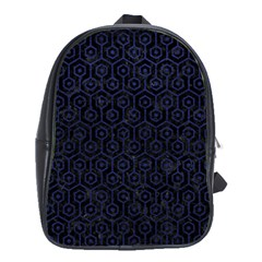 Hexagon1 Black Marble & Blue Leather School Bag (large) by trendistuff