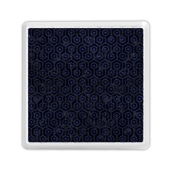 Hexagon1 Black Marble & Blue Leather Memory Card Reader (square) by trendistuff