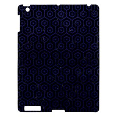 Hexagon1 Black Marble & Blue Leather Apple Ipad 3/4 Hardshell Case by trendistuff