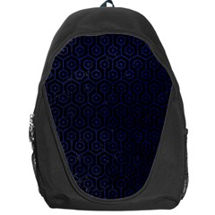 Hexagon1 Black Marble & Blue Leather Backpack Bag by trendistuff
