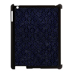 Hexagon1 Black Marble & Blue Leather Apple Ipad 3/4 Case (black) by trendistuff