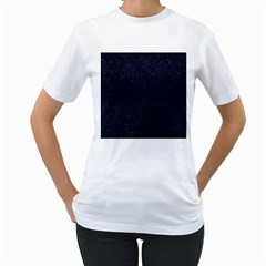 Hexagon1 Black Marble & Blue Leather Women s T Shirt (white)  by trendistuff