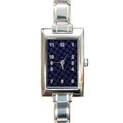 Houndstooth2 Black Marble & Blue Leather Rectangle Italian Charm Watch by trendistuff