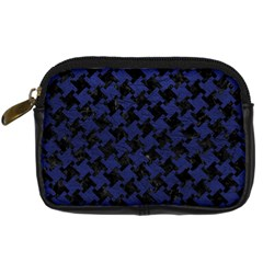 Houndstooth2 Black Marble & Blue Leather Digital Camera Leather Case by trendistuff