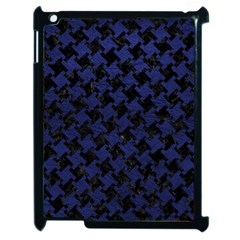 Houndstooth2 Black Marble & Blue Leather Apple Ipad 2 Case (black) by trendistuff