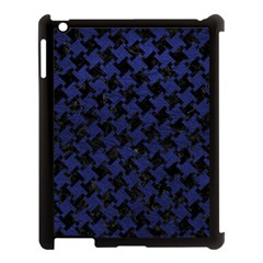 Houndstooth2 Black Marble & Blue Leather Apple Ipad 3/4 Case (black) by trendistuff