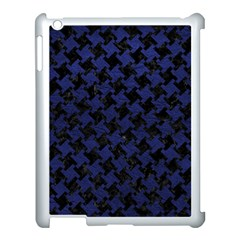 Houndstooth2 Black Marble & Blue Leather Apple Ipad 3/4 Case (white) by trendistuff