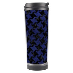 Houndstooth2 Black Marble & Blue Leather Travel Tumbler by trendistuff