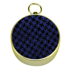 Houndstooth2 Black Marble & Blue Leather Gold Compass by trendistuff