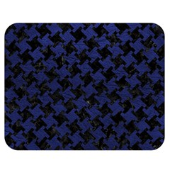 Houndstooth2 Black Marble & Blue Leather Double Sided Flano Blanket (medium) by trendistuff
