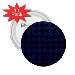 Houndstooth1 Black Marble & Blue Leather 2 25  Button (10 Pack) by trendistuff