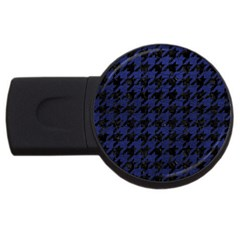 Houndstooth1 Black Marble & Blue Leather Usb Flash Drive Round (2 Gb) by trendistuff