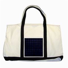 Houndstooth1 Black Marble & Blue Leather Two Tone Tote Bag by trendistuff