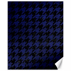 Houndstooth1 Black Marble & Blue Leather Canvas 11  X 14  by trendistuff