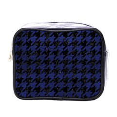 Houndstooth1 Black Marble & Blue Leather Mini Toiletries Bag (one Side) by trendistuff