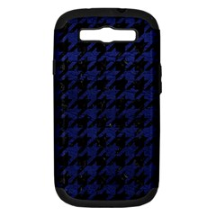 Houndstooth1 Black Marble & Blue Leather Samsung Galaxy S Iii Hardshell Case (pc+silicone) by trendistuff