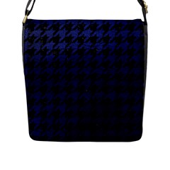 Houndstooth1 Black Marble & Blue Leather Flap Closure Messenger Bag (l) by trendistuff