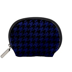 Houndstooth1 Black Marble & Blue Leather Accessory Pouch (small) by trendistuff