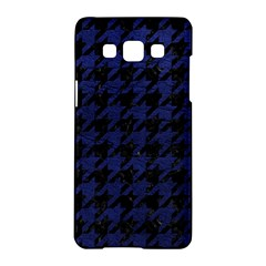 Houndstooth1 Black Marble & Blue Leather Samsung Galaxy A5 Hardshell Case  by trendistuff
