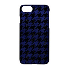 Houndstooth1 Black Marble & Blue Leather Apple Iphone 7 Hardshell Case by trendistuff