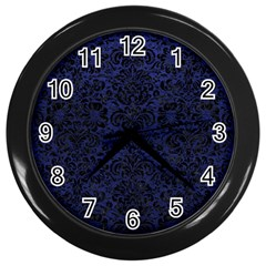 Damask2 Black Marble & Blue Leather (r) Wall Clock (black) by trendistuff