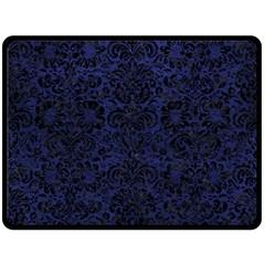 Damask2 Black Marble & Blue Leather (r) Fleece Blanket (large) by trendistuff