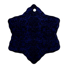 Damask2 Black Marble & Blue Leather (r) Snowflake Ornament (two Sides) by trendistuff