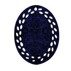 Damask2 Black Marble & Blue Leather (r) Oval Filigree Ornament (two Sides) by trendistuff