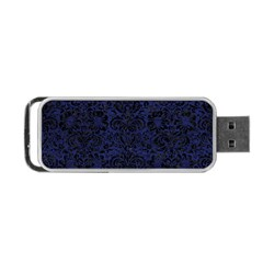 Damask2 Black Marble & Blue Leather (r) Portable Usb Flash (two Sides) by trendistuff