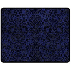 Damask2 Black Marble & Blue Leather (r) Double Sided Fleece Blanket (medium) by trendistuff