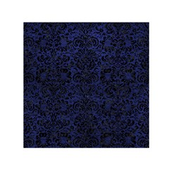 Damask2 Black Marble & Blue Leather (r) Small Satin Scarf (square) by trendistuff