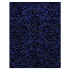 Damask2 Black Marble & Blue Leather (r) Drawstring Bag (large) by trendistuff