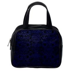 Damask2 Black Marble & Blue Leather Classic Handbag (one Side) by trendistuff