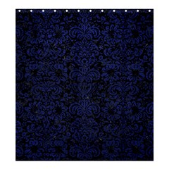 Damask2 Black Marble & Blue Leather Shower Curtain 66  X 72  (large) by trendistuff