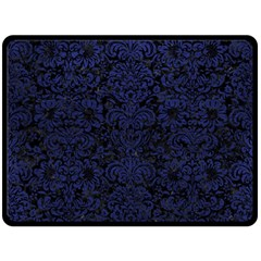 Damask2 Black Marble & Blue Leather Double Sided Fleece Blanket (large)