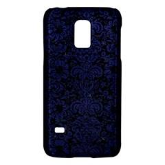 Damask2 Black Marble & Blue Leather Samsung Galaxy S5 Mini Hardshell Case  by trendistuff