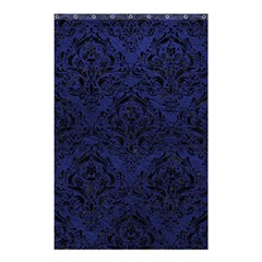 Damask1 Black Marble & Blue Leather (r) Shower Curtain 48  X 72  (small) by trendistuff