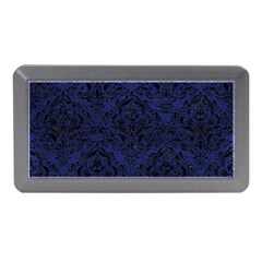 Damask1 Black Marble & Blue Leather (r) Memory Card Reader (mini) by trendistuff