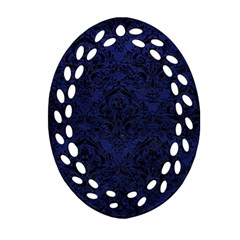 Damask1 Black Marble & Blue Leather (r) Oval Filigree Ornament (two Sides) by trendistuff