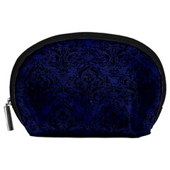 Damask1 Black Marble & Blue Leather (r) Accessory Pouch (large) by trendistuff