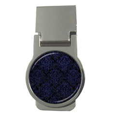 Damask1 Black Marble & Blue Leather Money Clip (round) by trendistuff