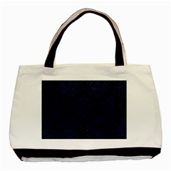Damask1 Black Marble & Blue Leather Basic Tote Bag by trendistuff