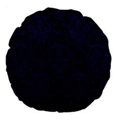 Damask1 Black Marble & Blue Leather Large 18  Premium Round Cushion  by trendistuff