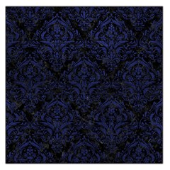 Damask1 Black Marble & Blue Leather Large Satin Scarf (square) by trendistuff