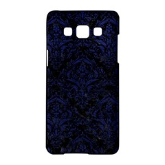 Damask1 Black Marble & Blue Leather Samsung Galaxy A5 Hardshell Case  by trendistuff
